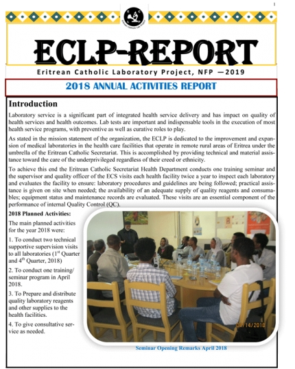 ECLP-REPORT Eritrean Catholic Laboratory Project, NFP - 2019